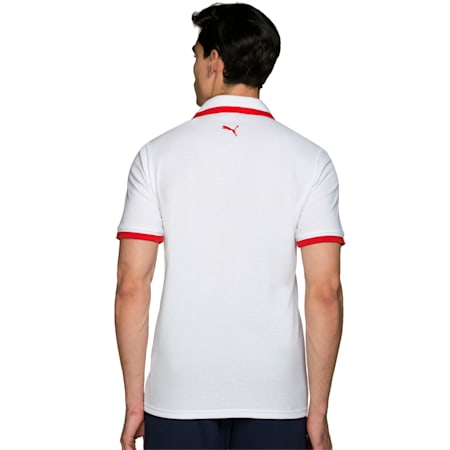 Tipping Men's Polo T-shirt, white-puma red, small-IND