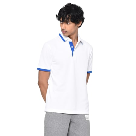 Tipping Men's Polo T-shirt, white-royal blue, small-IND