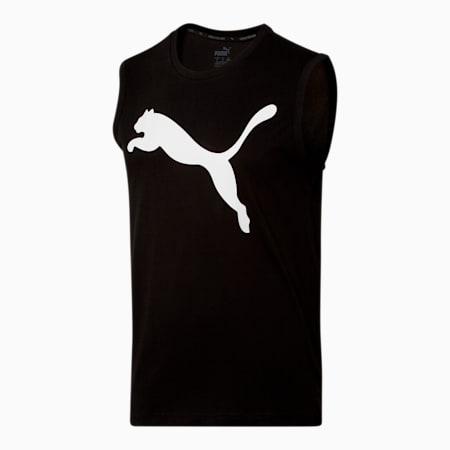 Men's No.1 Logo Sleeveless Shirt, Cotton Black-P. White, small