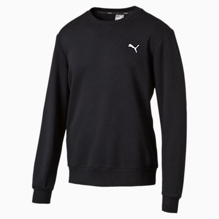 Men's Crew Sweater, Cotton Black, small-SEA