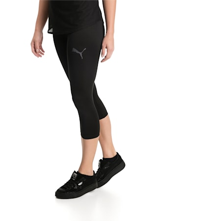 Active Women's 3/4 Leggings, Puma Black, small-IND