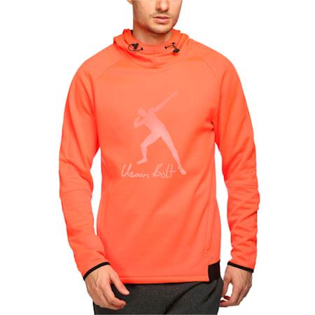 Usain Bolt Evostripe Logo Men's Fleece Hoodie, Red Blast, small-IND