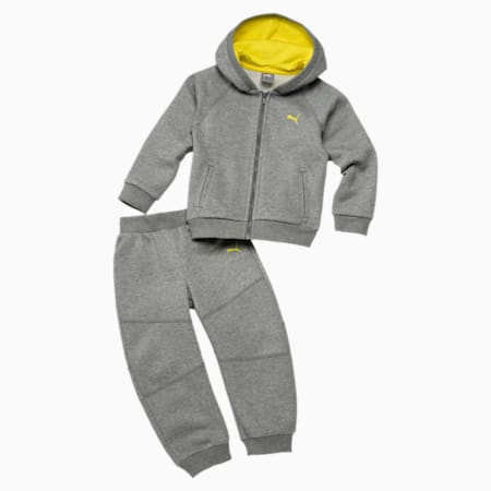 Hooded Babies' Jogger Set, medium gray heather, small