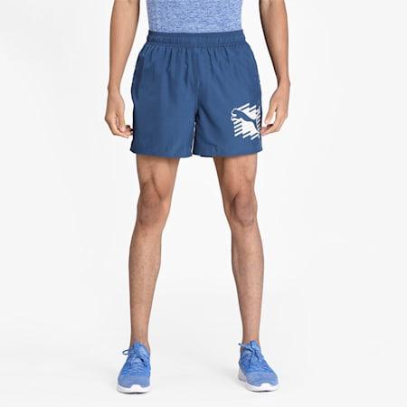 Essentials+ Summer Graphic Men's Shorts, Dark Denim, small-IND