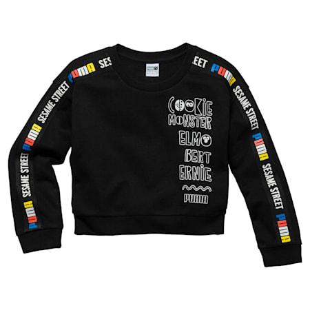 PUMA x SESAME STREET Girl's Crewneck Sweatshirt, Cotton Black, small