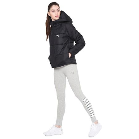 Women's Down Hooded Jacket, Puma Black, small-IND