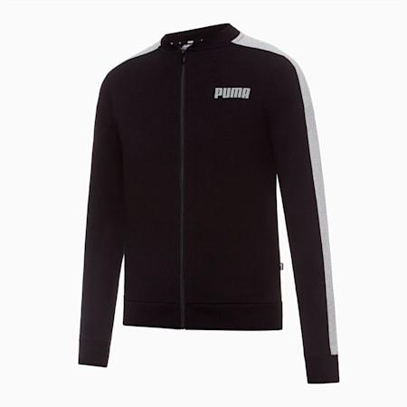 Contrast Full Zip Women's Sweat Jacket, Cotton Black, small-SEA