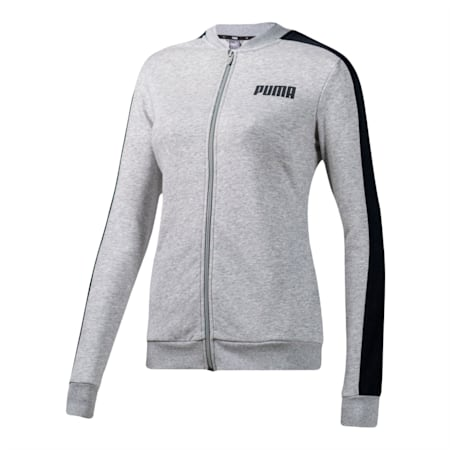 Contrast Full Zip Women's Sweat Jacket, Light Gray Heather, small-SEA