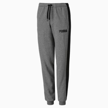 Contrast Cuffed Knitted Boys' Sweatpants, Medium Gray Heather, small