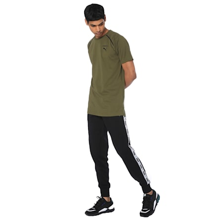 Tape Sweat Pants, Cotton Black, small-IND