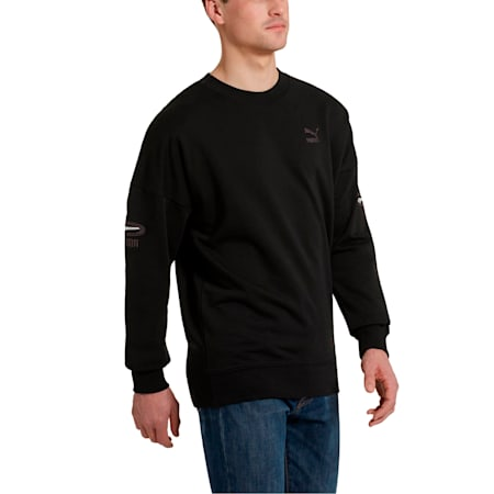 OG Men's Crewneck Sweatshirt, Puma Black-White logo, small