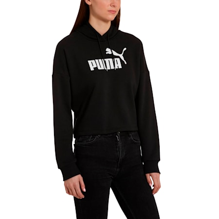 Essentials+ Logo Women's Cropped Hoodie, Cotton Black, small