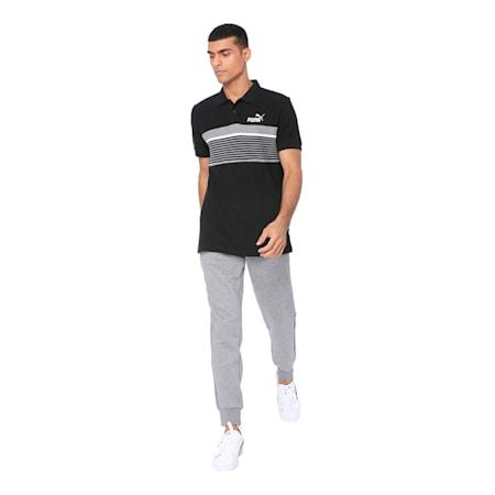 ESS+ Stripe Men's Polo, Cotton Black, small-IND
