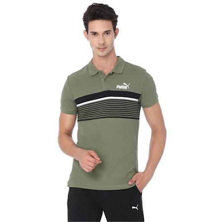 ESS+ Stripe Men's Polo, Olivine, small-IND