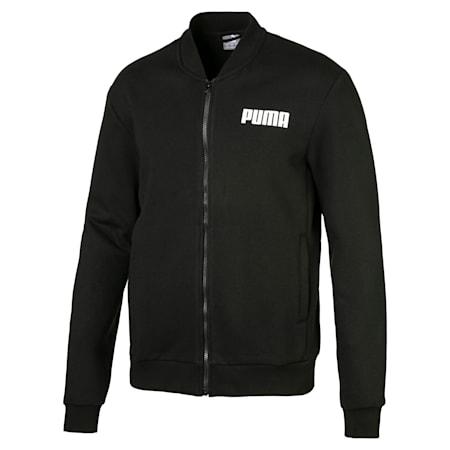 Fleece Men's Sweat Jacket, Puma Black, small
