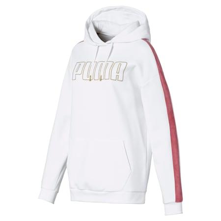 Oversized Fleece Women's Hoodie, Puma White, small