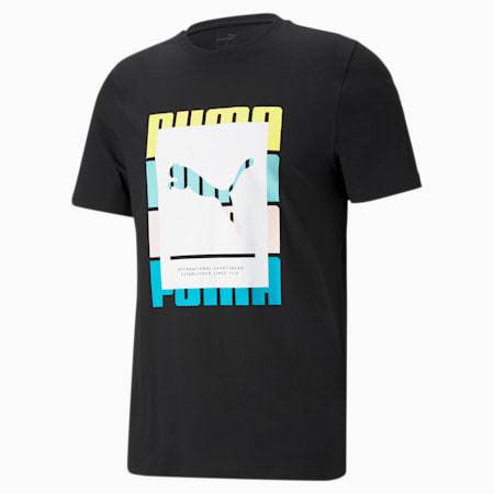 Summer Court Graphic Men's Tee, Puma Black, small