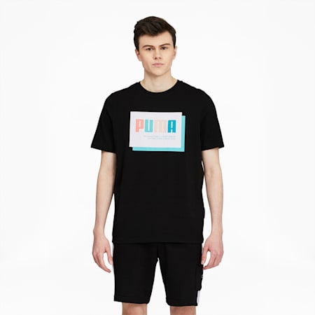 Camiseta estampada Summer Court para hombre, Puma Black-Box, pequeño