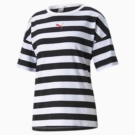 Summer Stripes Printed Women's Tee, Puma Black, small
