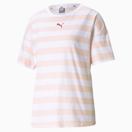 Summer Stripes Printed Damen T-Shirt, Cloud Pink, small