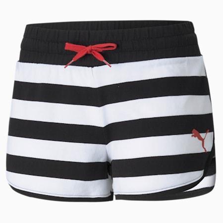 Summer Stripes Printed Women's Shorts, Puma Black, small