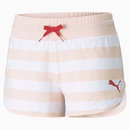 Summer Stripes Printed Women's Shorts, Cloud Pink, small