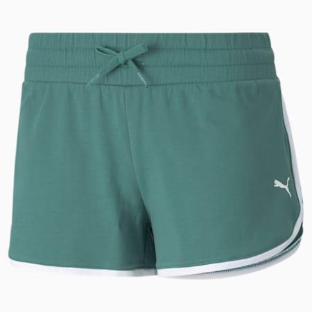 Summer Stripes Women's Shorts, Blue Spruce, small-GBR