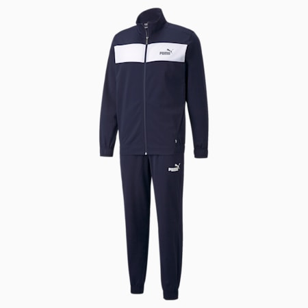 Polyester Men's Track Suit, Peacoat, small-IND