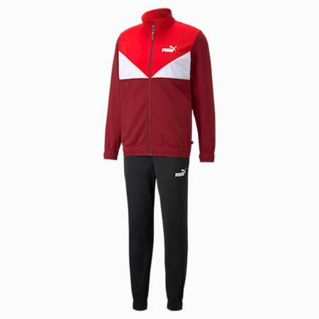 Colour Blocked Men's Tracksuit, Intense Red, small-GBR