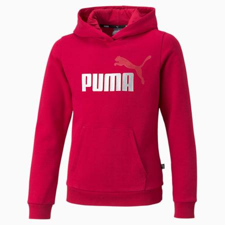 Sudadera con capucha con logo Essentials+ para niñas, Persian Red, pequeño