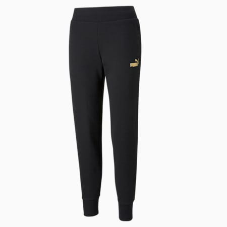 Essential+ Metallic Regular Fit Knitted Women's Pants, Puma Black-Gold, small-IND