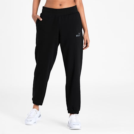Essentials+ Embroidered Regular Fit Women's Pants, Puma Black, small-IND