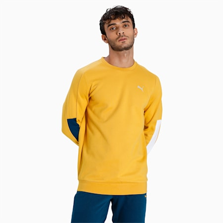 one8 Virat Kohli Slim Fit Men's Crew Sweat Shirt, Mineral Yellow, small-IND