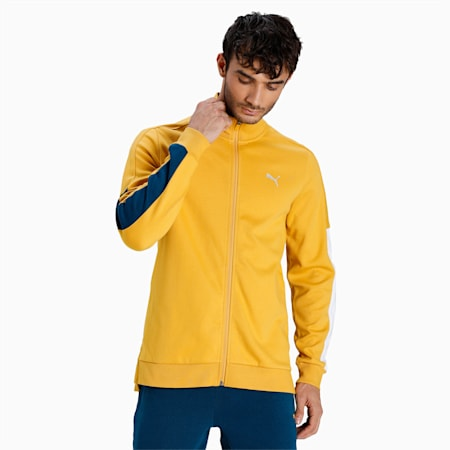 one8 Virat Kohli Colorblock Slim Fit Men's Sweat Shirt, Mineral Yellow, small-IND