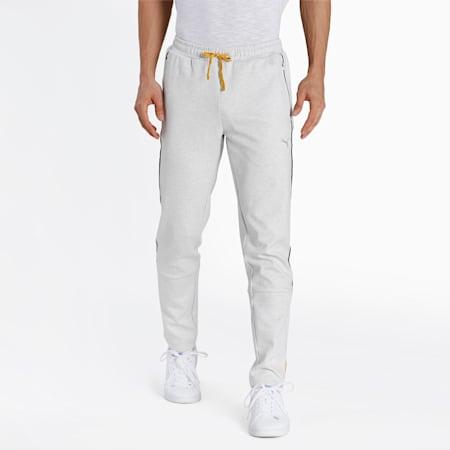 one8 Virat Kohli Slim Fit Knitted Men's Sweat Pants, Puma White Heather, small-IND