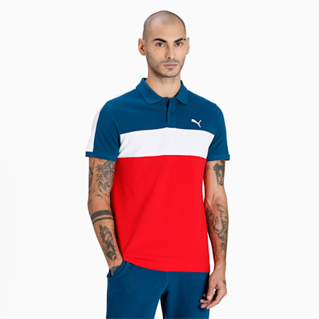 Colorblock Slim Fit Men's Polo, High Risk Red, small-IND