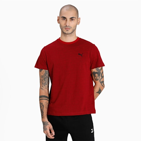 Jacquard Slim Fit Men's T-Shirt, Intense Red, small-IND