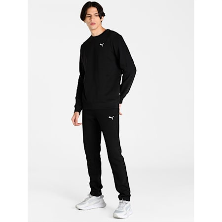Zippered Slim Fit Knitted Men's Sweat Pants, Puma Black, small-IND