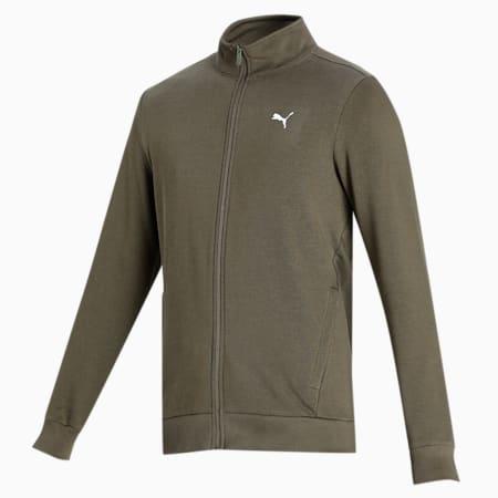 Zippered Full-Zip Slim Fit Men's Sweat Shirt, Grape Leaf, small-IND