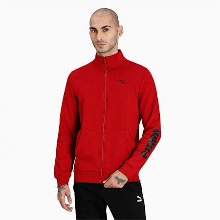 Zippered Full-Zip Slim Fit Men's Sweat Shirt, Intense Red, small-IND