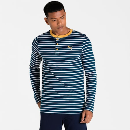 Long Sleeves Slim Fit Men's T-Shirt, Intense Blue, small-IND