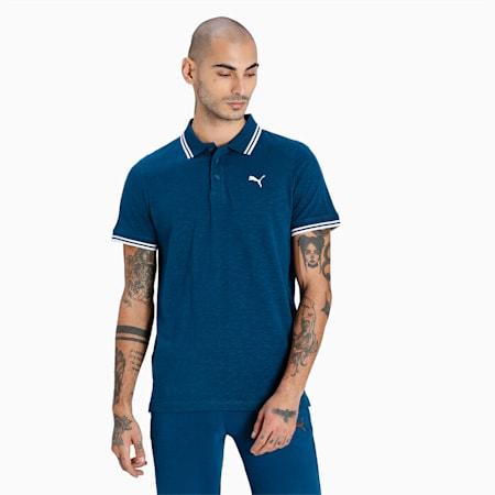 Slub Men's Jersey Polo, Intense Blue, small-IND