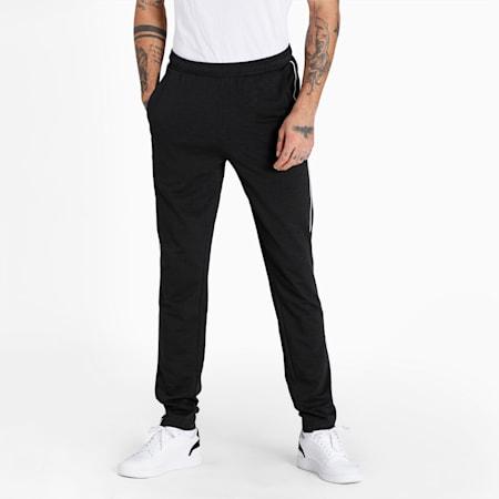 Slub Slim Fit Knitted Men's Sweat Pants, Puma Black, small-IND