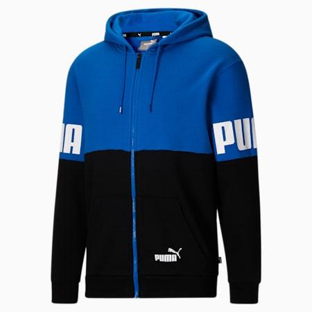 Sudadera con capucha con colores combinados PUMA POWER para hombre, Future Blue-Puma Black, pequeño
