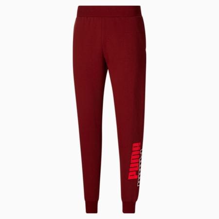 Pantalones deportivos con logo PUMA POWER para hombre, Intense Red-Puma Black, pequeño