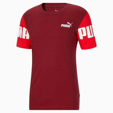 T-shirt à blocs colorés PUMA POWER, homme, Rouge risque élevé-rouge intense, petit