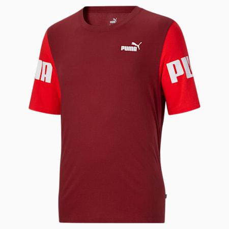 T-shirt BT à blocs colorés PUMA POWER, homme, Rouge risque élevé-rouge intense, petit