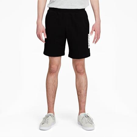 Short à logo de 8 po PUMA POWER, homme, Noir coton-Blanc Puma, petit