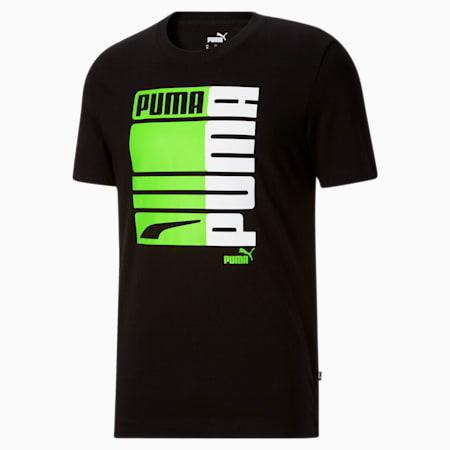 T-shirt Formstrip PUMA graphique, homme, Noir Puma-Éclair vert, petit