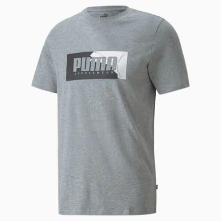 Camiseta estampada PUMA Box para hombre, Medium Gray Heather, pequeño
